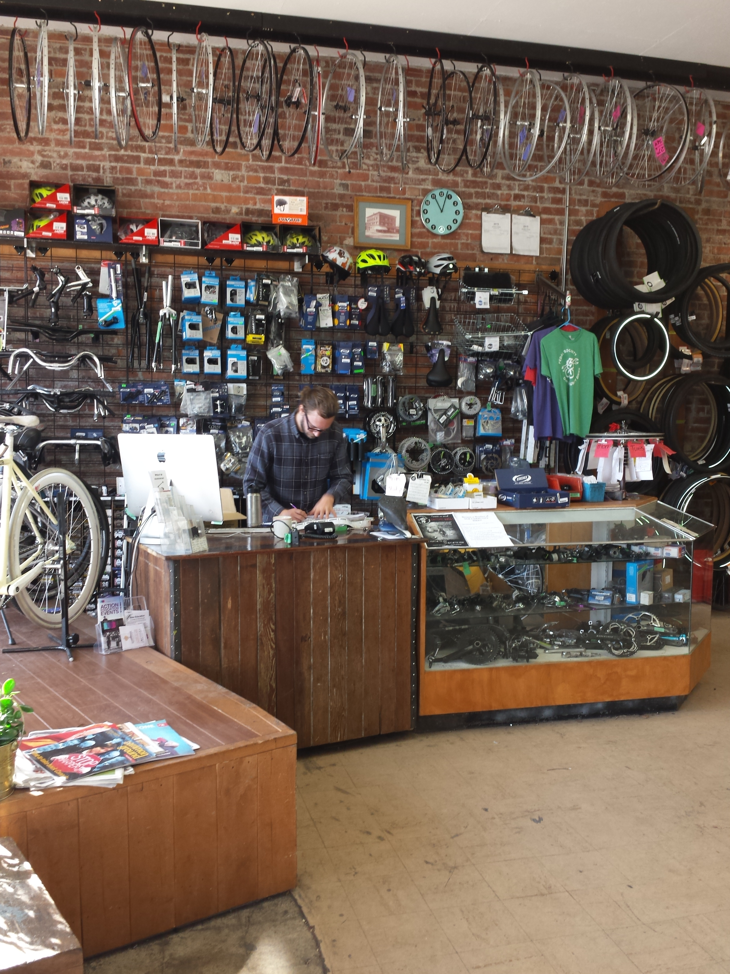 Lot of refurbished and second hand supplies to reduce financial barriers to owning your own bike