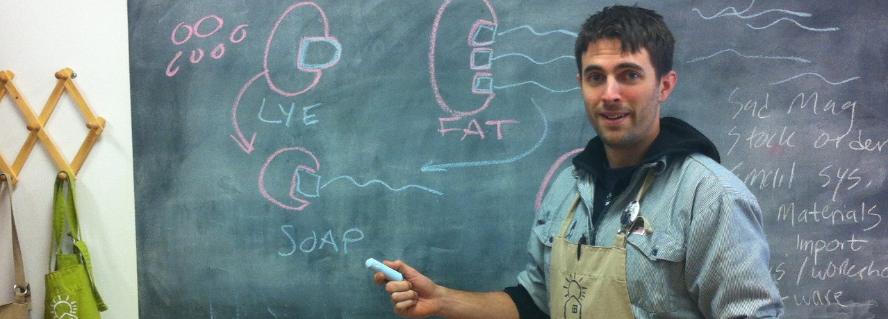 Owner Rick Havlak showing how to make soap