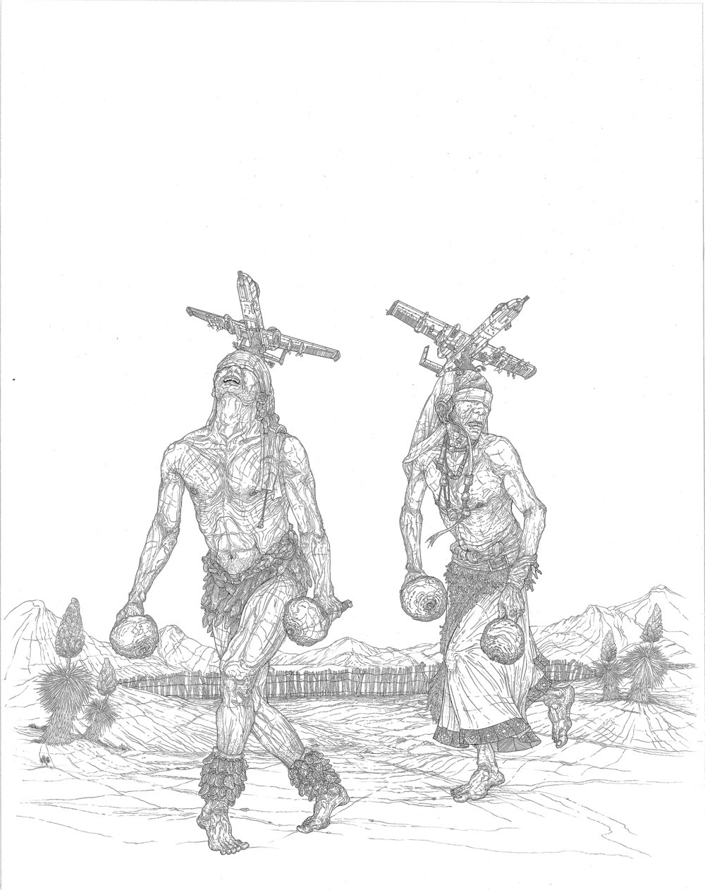yaqui war dance, ink on paper, 22in. x 16in., 2007