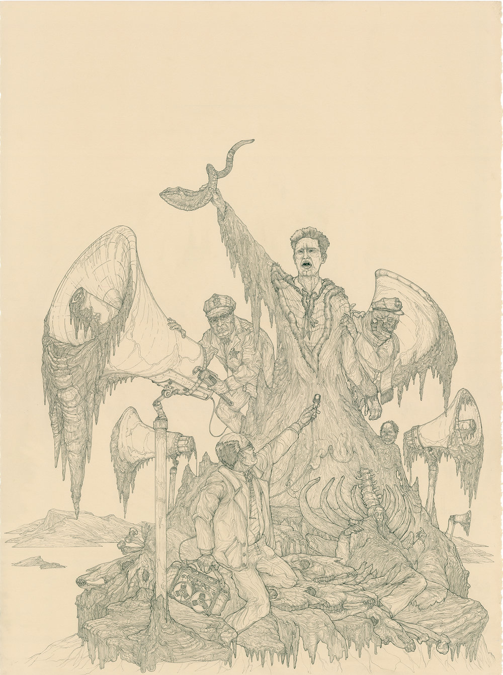 Mario Savio's Ice Shirt Ghost Dance, ink on paper, 30in. x 22in., 2007