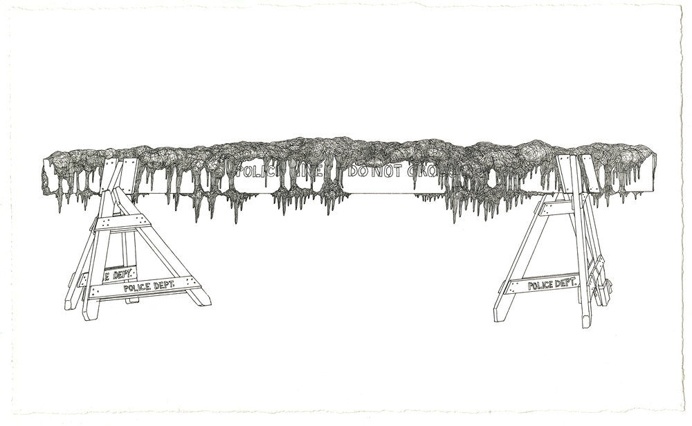 barricade, ink on paper, 8.5in. x 14in., 2009