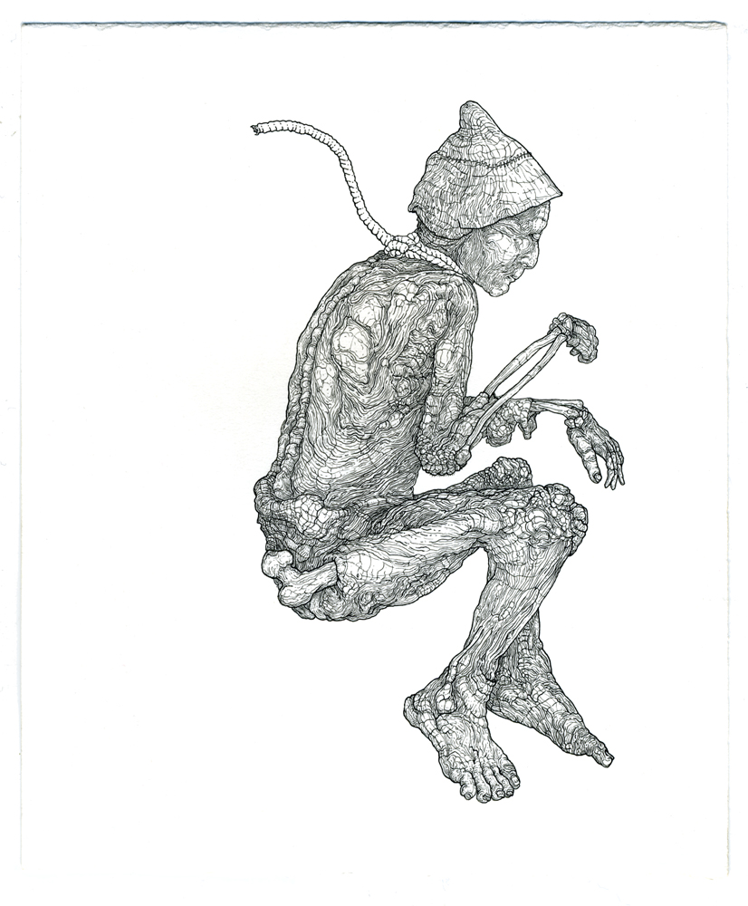 tollund man, ink on paper, 8.5in. x 7in., 2009