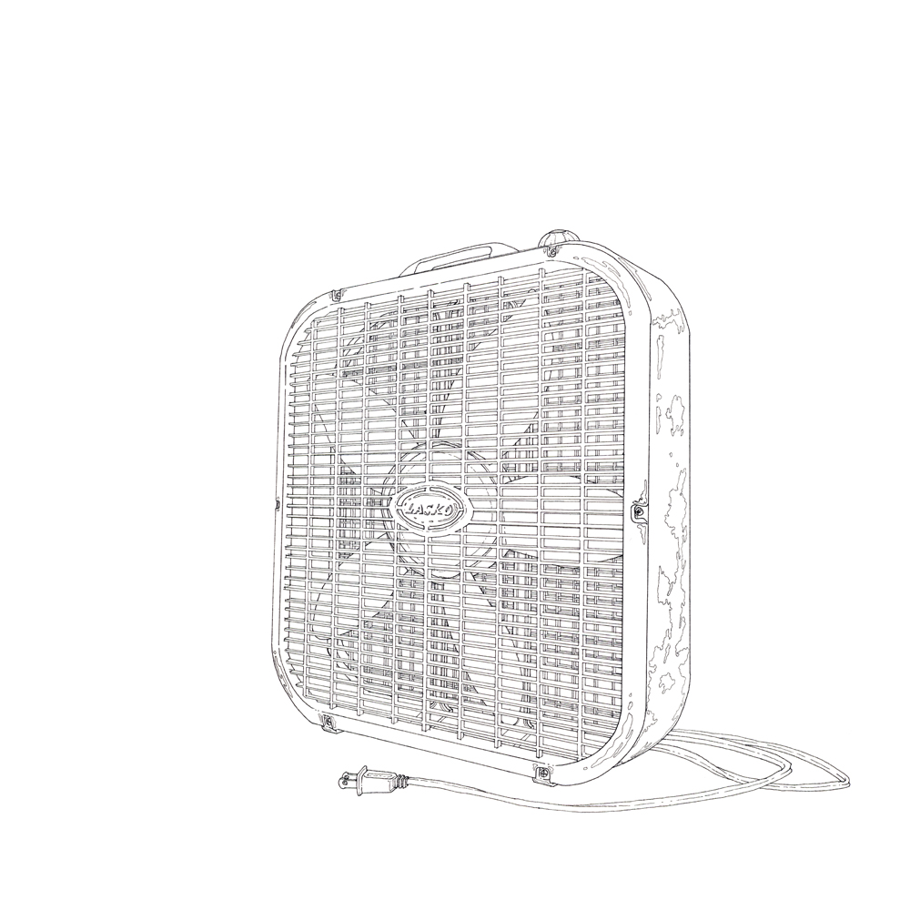 box fan, ink on paper, 12in. x 12in., 2009