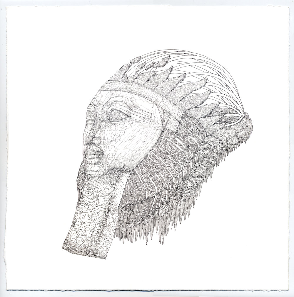 hatshepsut, ink on paper, 12in. x 12in., 2009