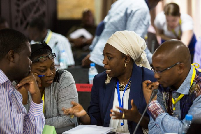 BID Learning Network (BLN) members exchange ideas at a BLN event in Arusha, Tanzania. The BLN is one example of a peer learning platform that will be amplified by the African Alliance.