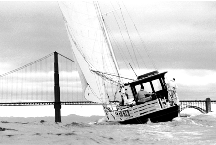 The RUBY under sail at the Golden Gate.