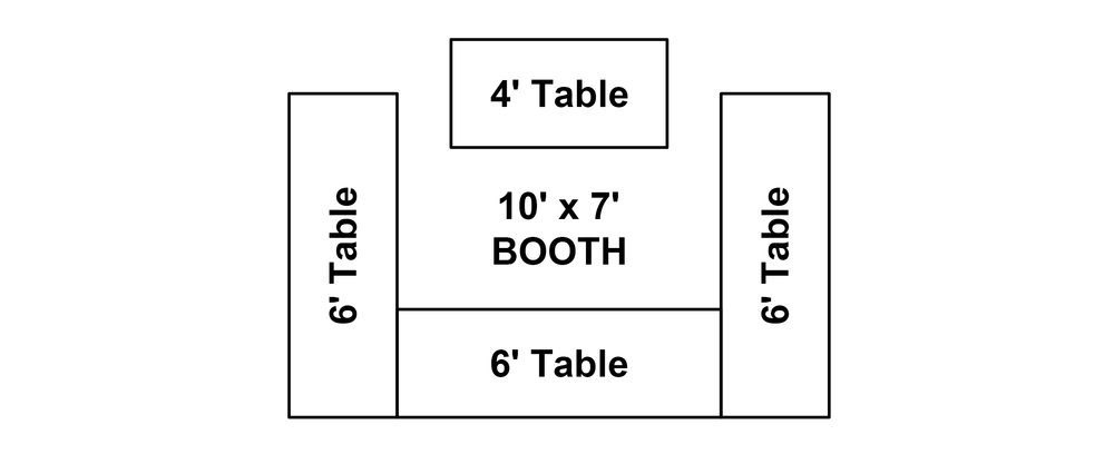 10' x 7'* Booth   Comes with 3 – 6' tables and 1 - 4' table, 500 watts of electricity, table skirts**, table covers** and 2 chairs. Please note, if you order any showcases(s) you will lose a table(s).