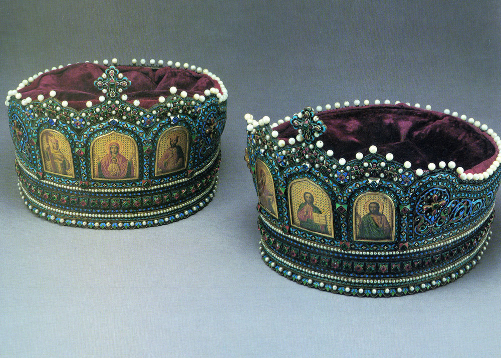 Royal wedding crowns made in Moscow in 1881 by jeweler Ivan D'Mitrovich Chichelev.