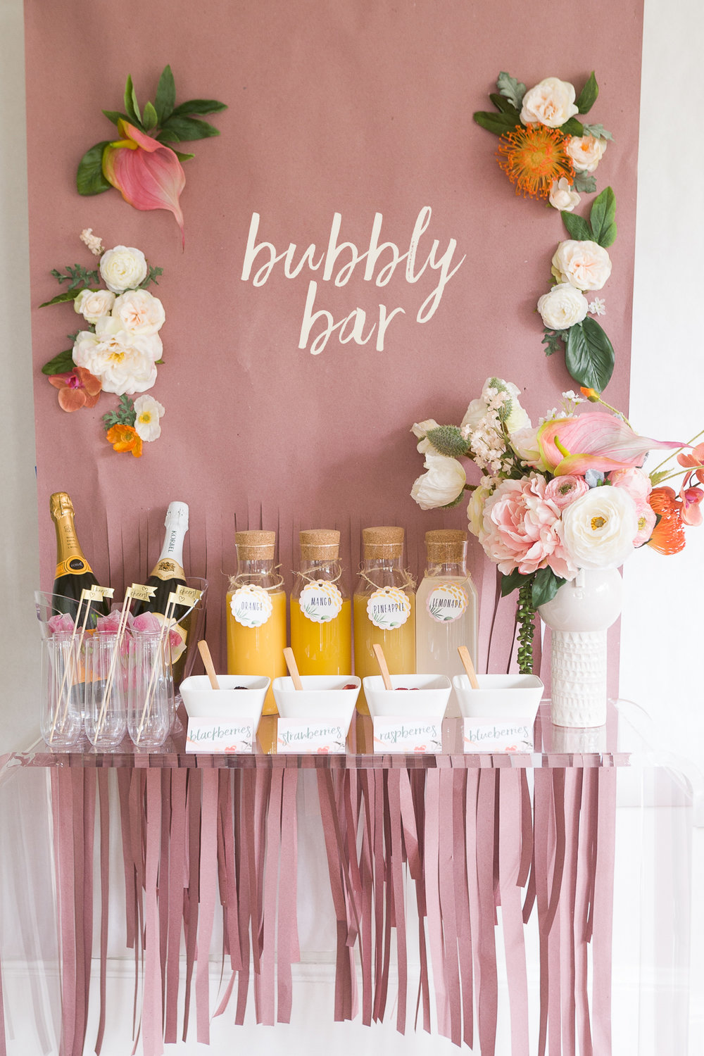 Mimosa Bar with Lots of Free Printables from Avery - http://ruffledblog.com/mimosa-bar-bridal-shower-brunch-with-lots-of-free-printables