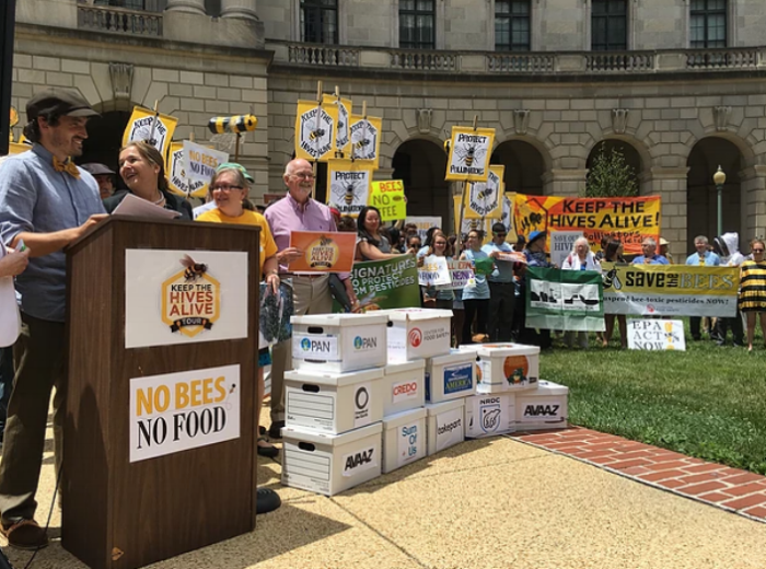 James Cook (left) and demonstrators at EPA headquarters in Washington, D.C. Photo credit:  Keep the Hives Alive