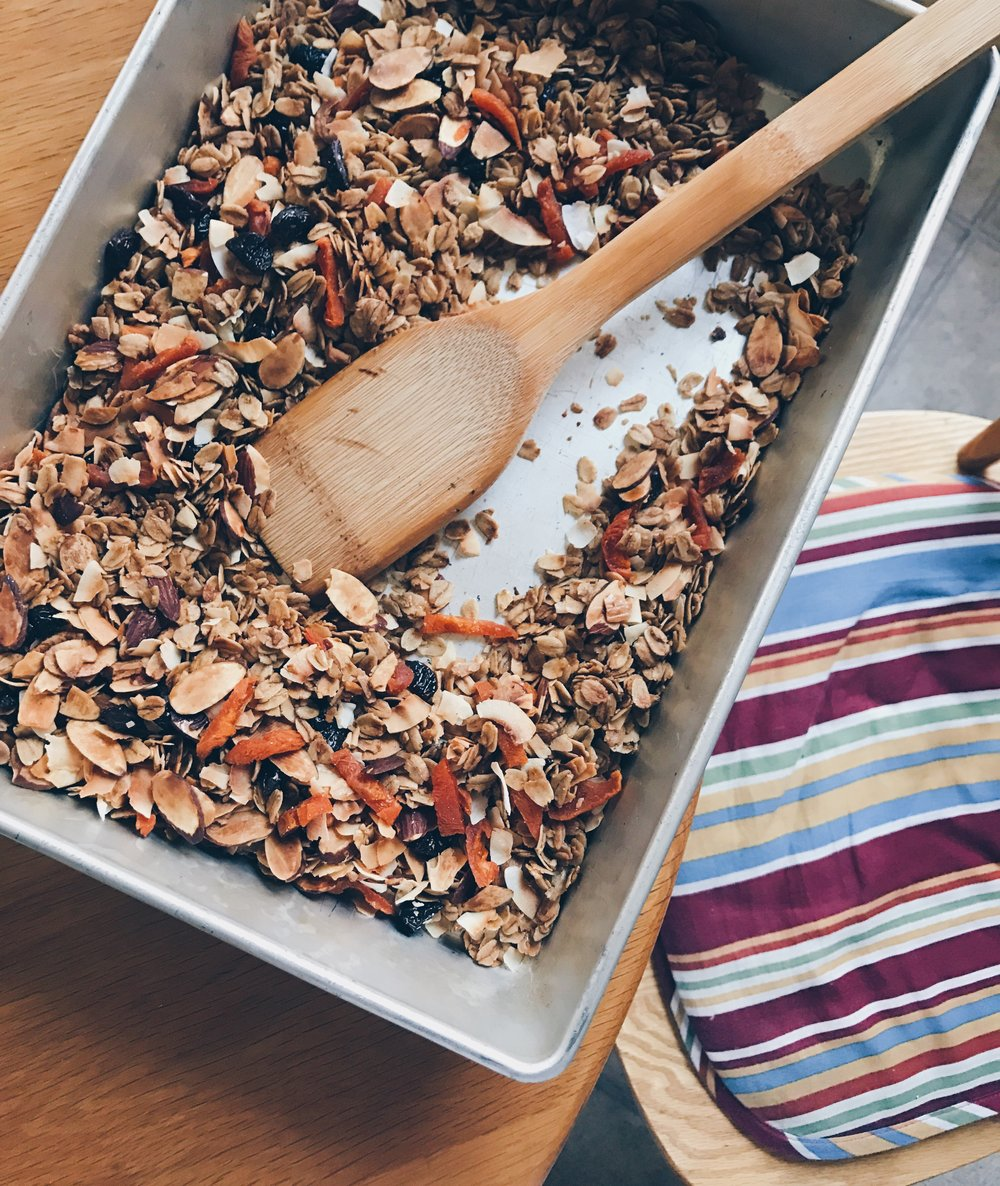 This granola is easy to put together, lasts for weeks and will make your kitchen smell amazing when it is baking. Photo by Addy Cummings