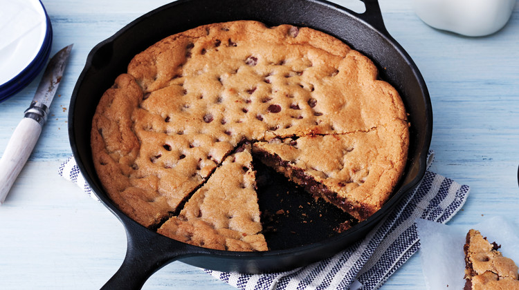 The name really says it all. Who can resist a giant gooey chocolate chip cookie? Eaten warm and topped with you favorite vegan ice cream this dessert is best for sharing. Photo by Lennart Weibull from Martha Stewart