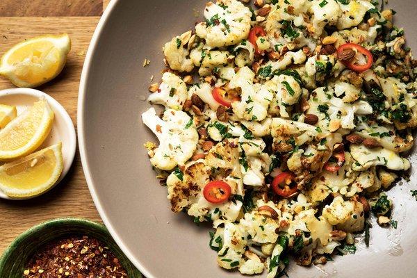 Pan-Roasted Cauliflower with Garlic, Rosemary & Parsley