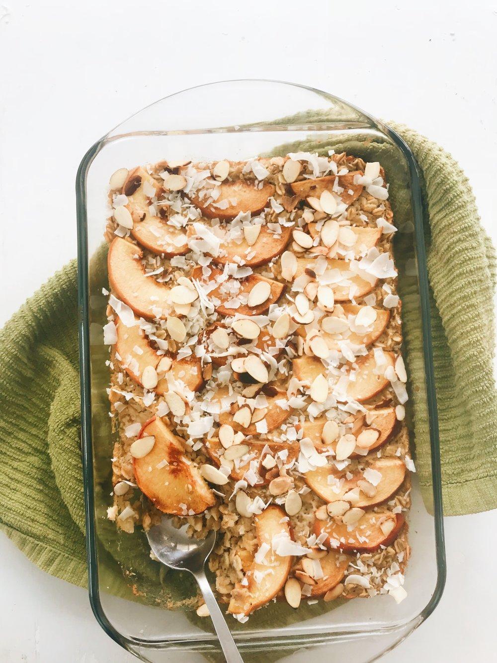 Almond Peach Baked Oatmeal