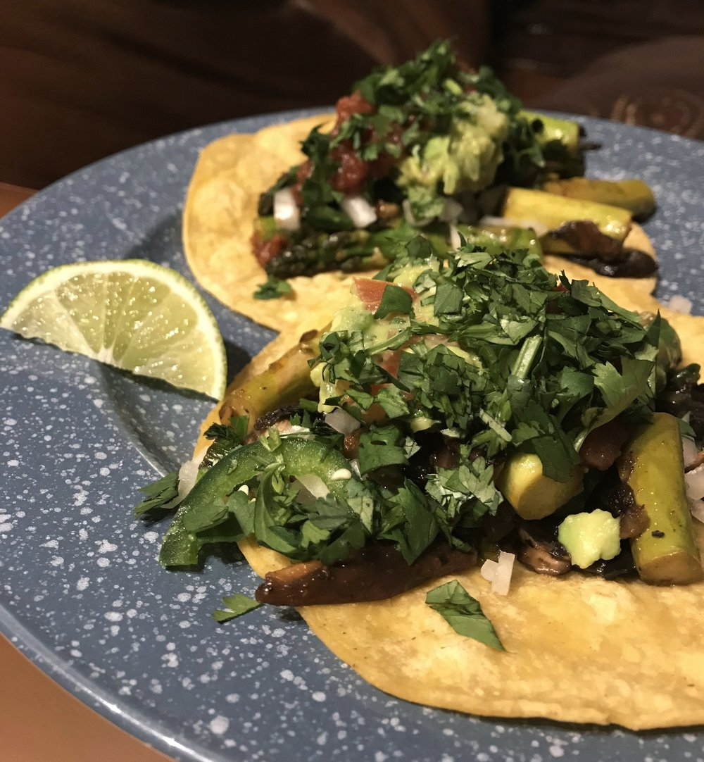Pan-Seared Asparagus & Shitake Tacos