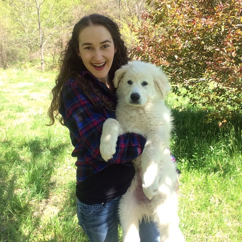 With Lady, her new livestock guardian pup.