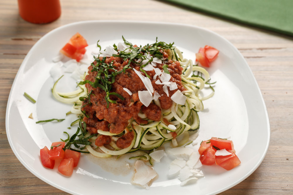 Seed's raw spaghetti made with spiralized zucchini and house made puttanesca sauce. Photo from  Seed