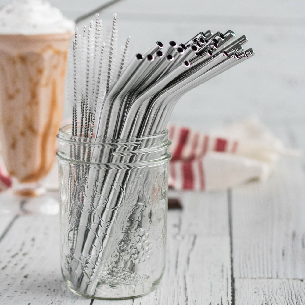 Dishwater-safe glass and metal straws:  These straws are sturdy enough to be washed and reused .  That said, the glass can break and metal straws can be  cold.    Recommended Brands:    Glass Dharma ,  Simply Straws ,  Strawsome ,  Kleen Kanteen ,  The Last Straw ,  Snow Peak ,  Eco at Heart     Photo Credit:  Strawsome  and  Eh Vegan
