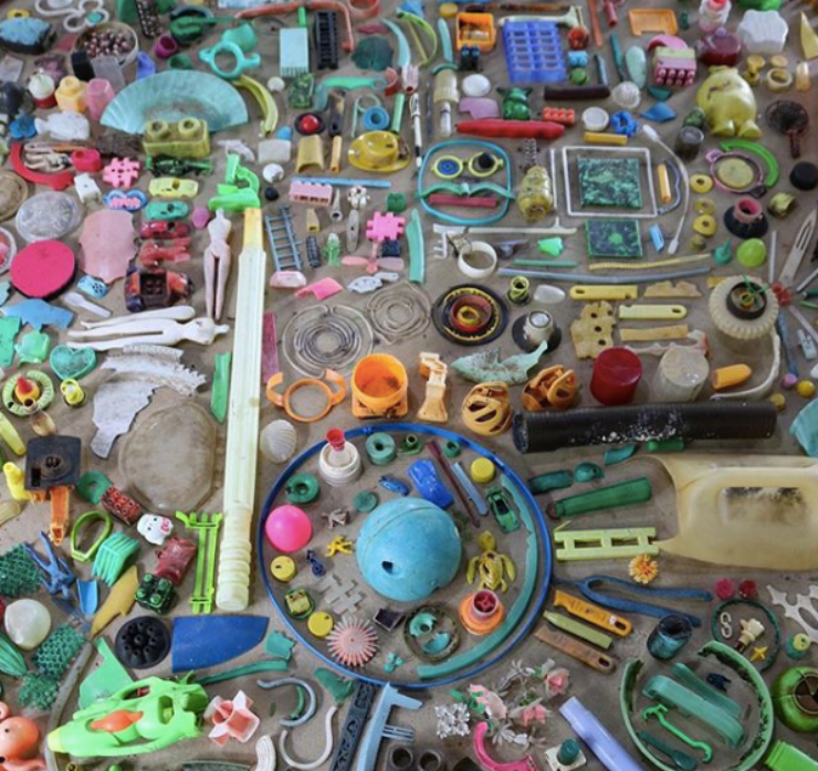 A photo of plastic collected from the beach on Koh Seh Island, in Cambodia. Photo from  5 Gyres Instagram