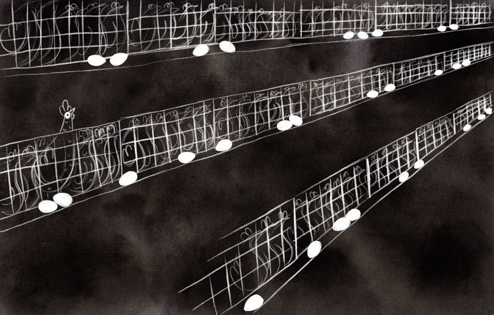 Stangl underscores the bleakness of Gwen's life in an egg-laying factory by illustrating those scenes in stark black and white.