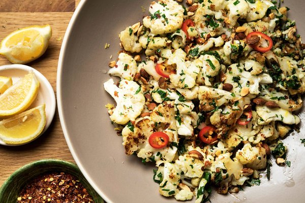 Pan-Roasted Cauliflower with Garlic, Rosemary & Parsley