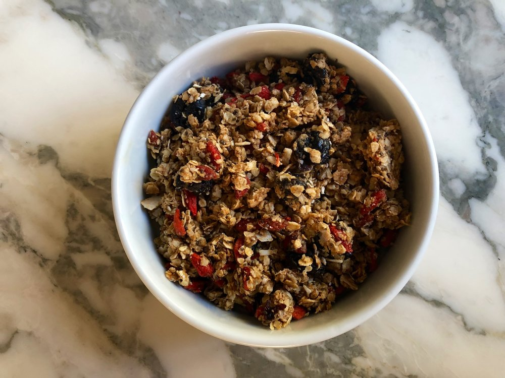 Goji berries pack a fruity punch to this granola, especially paired with sour cherries and rounded out with creamy coconut.   Feel free to mix in or sub other ingredients, like hemp seeds, dark chocolate, or nuts.