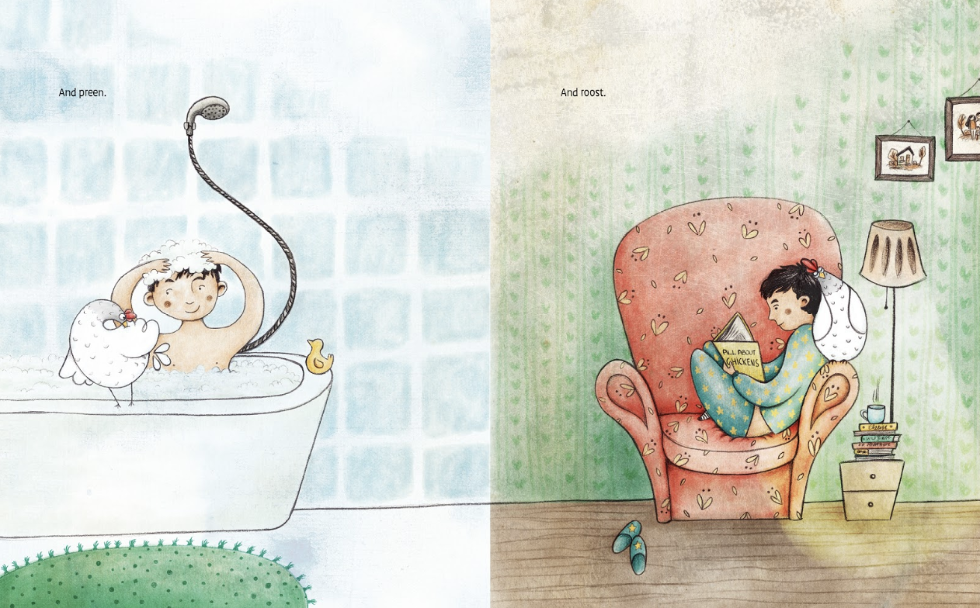 Gwen learns how to be a chicken after escaping from an egg-laying farm and finding a boy named Mateo. Source:   Gwen the Rescue Hen  , published by Stone Pier Press