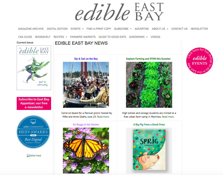"EDIBLE EAST BAY | JUNE 2018  ""In the world of book publishing, small presses provide a valuable alternative to large corporate publishing houses…""   Read More"