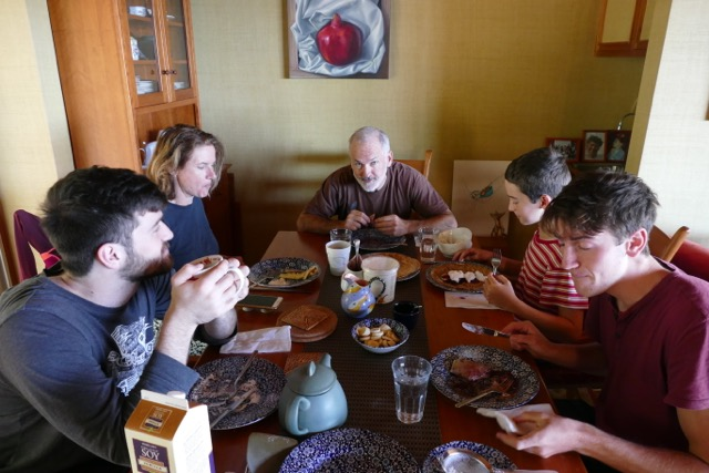Elisse Gabriel's family (pictured here, with friends) barely notices there's rarely meat at the table. She says the reason is simple: the alternatives taste really good.
