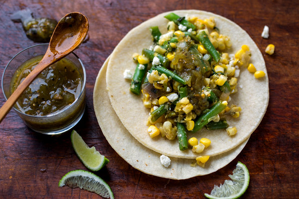 One step meal? Fill a fresh corn tortilla with just about anything - fresh vegetables, brown rice, cheese, salsa, as in this  recipe.  Done. Photo: Anthony Scrivani