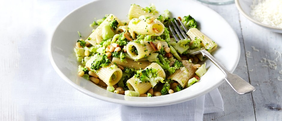 Pasta is a decent source of protein. Add veggies and you have a filling - and delicious - meal. Try this  Rigatoni with Broccoli Pesto .