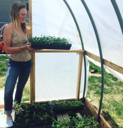The Veg Yard founder Grace Burnham admires seedlings in the hoop house.  Photo source