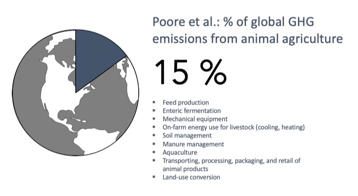 In a June 2018 study published in  Science , Poore et al. estimated that animal agriculture contributes 15% of global GHG emissions. This includes GHG emissions from feed production; enteric fermentation; on-farm mechanical equipment and energy use for livestock; soil and manure management; aquaculture; transporting, processing, packaging, and retail of animal products; and land-use conversion.