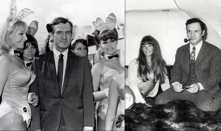 Hefner with Bunnies and girlfriend: 1966, 1970
