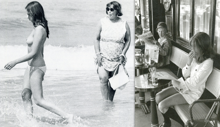 Topless bathing, mini-skirt, and disapproving looks: late 1960s
