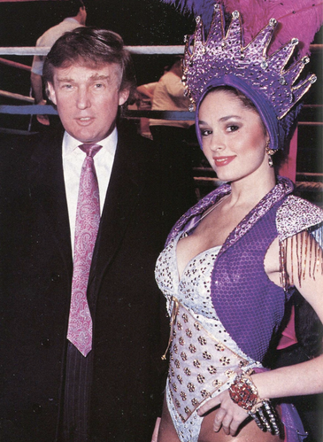 Donald Trump with Penthouse Pet Leslie Glass, in Penthouse February 1992