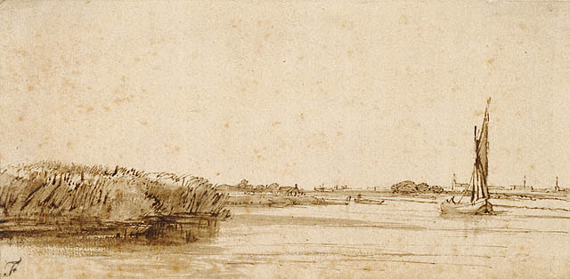 """""""A Sailing Boat on a Wide Expanse of Water,"""" by Rembrandt, 1650, The Getty Museum"""