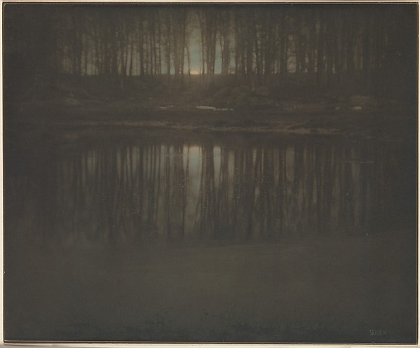 Edward Steichen, The Pond -- Moonrise, 1904. Platinum print with applied color. Metropolitan Museum.