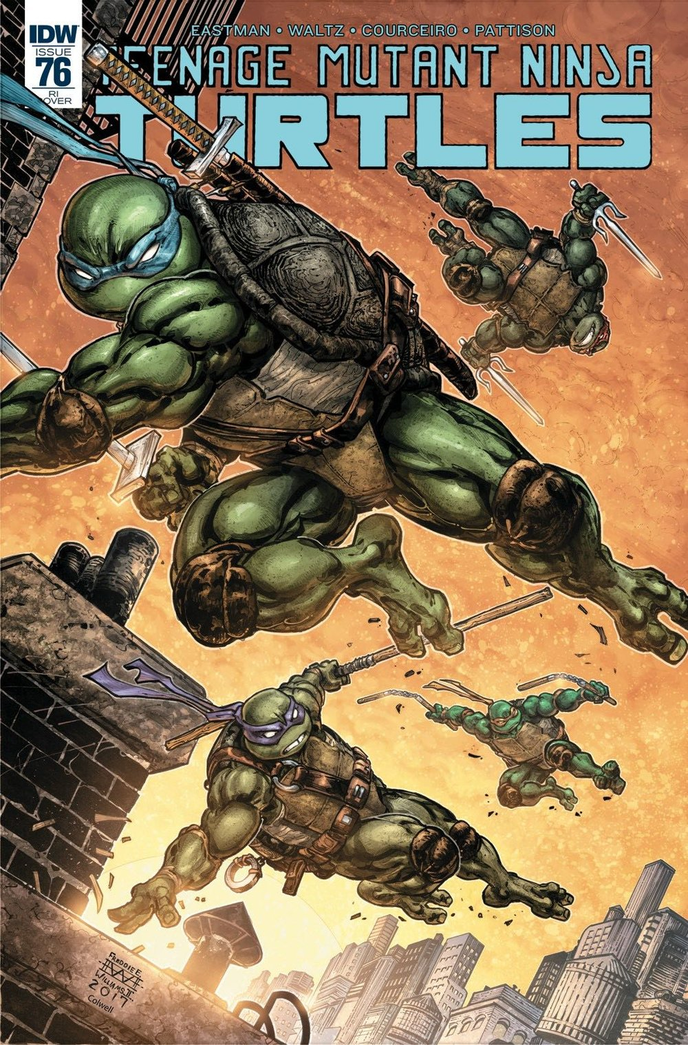 Episode 11 Variant of the Week! - (IDW) Teenage Mutant Ninja Turtles #76 (1/25 Variant)Cover by Kevin EastmanWritten by Tom Waltz and Kevin EastmanIllustrated by Damian CouceiroDid the Content Match the Drapes? - Yes, but needed more turtles!
