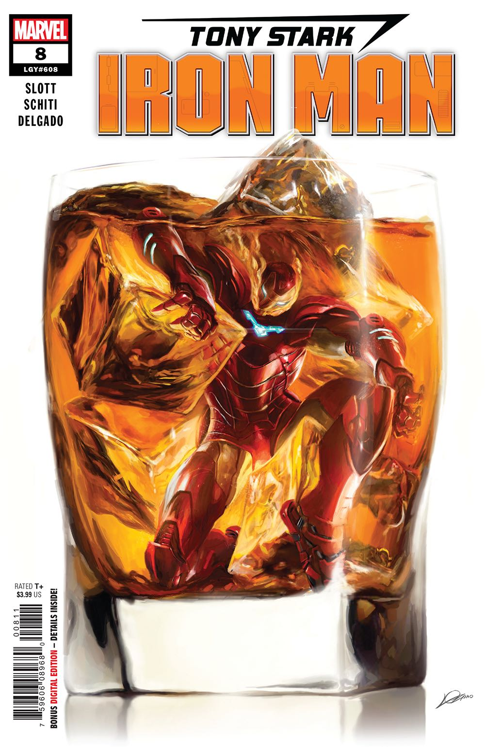 Episode 38 Cover of the Week! - (Marvel) Tony Stark Iron Man #8Cover by Alexander LozanoWritten by Dan SlottIllustrated by Valerio SchitiDid the Content Match the Drapes? - UNR