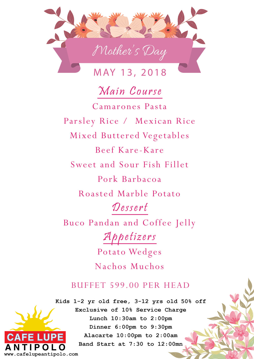 Mother's Day Buffet Menu in Cafe Lupe Antipolo