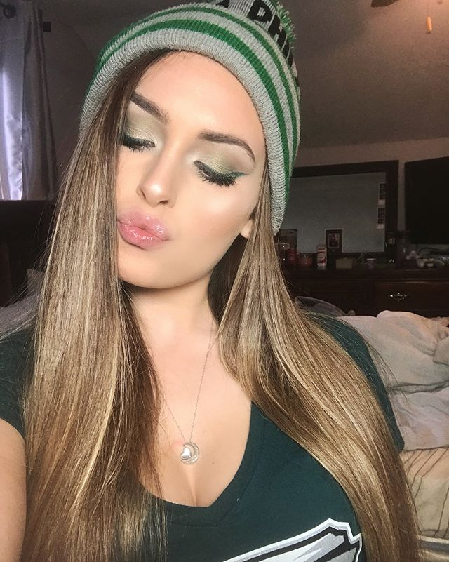 My Super Bowl Makeup 💚🦅 #eagles #superbowl #champions #flyeaflesfly