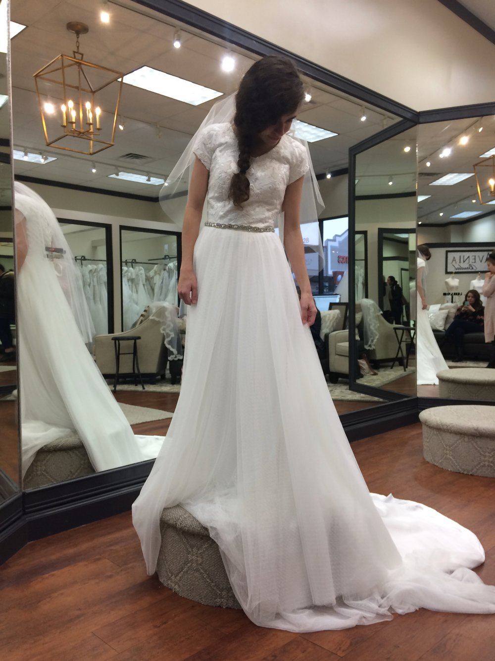 One of the dresses I tried on.