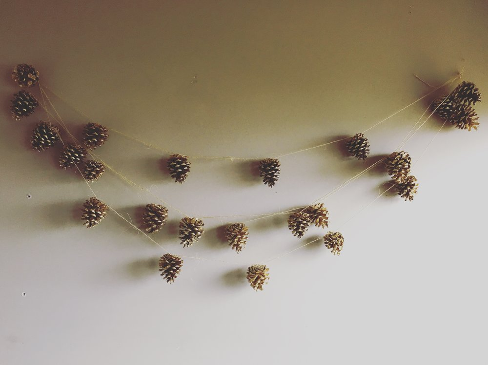 Extra Large Golden Pinecone Garland.