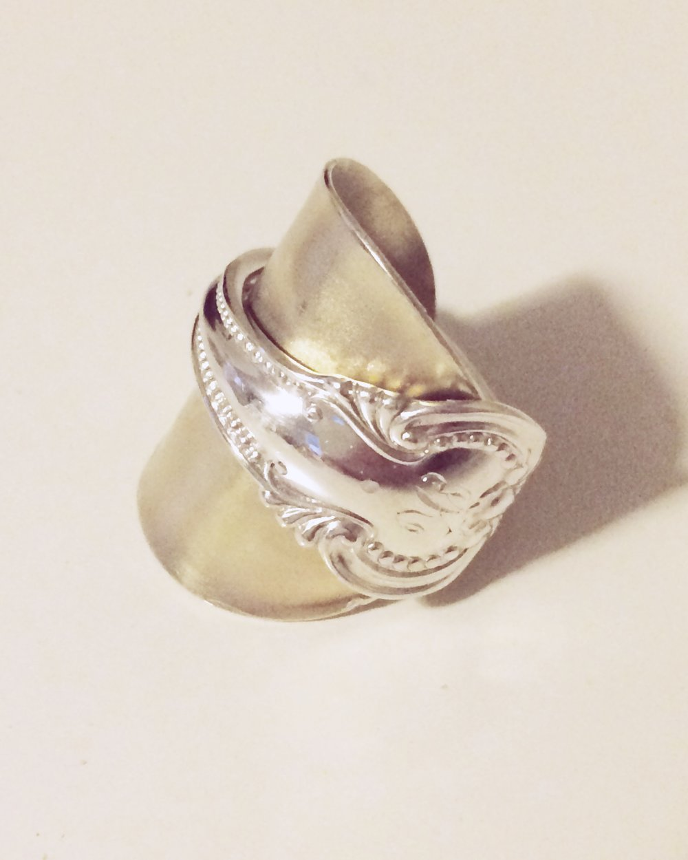 Sterling Silver Spoon Ring made for the A Forager's Home Shop by jeweller Katelyn Lane.