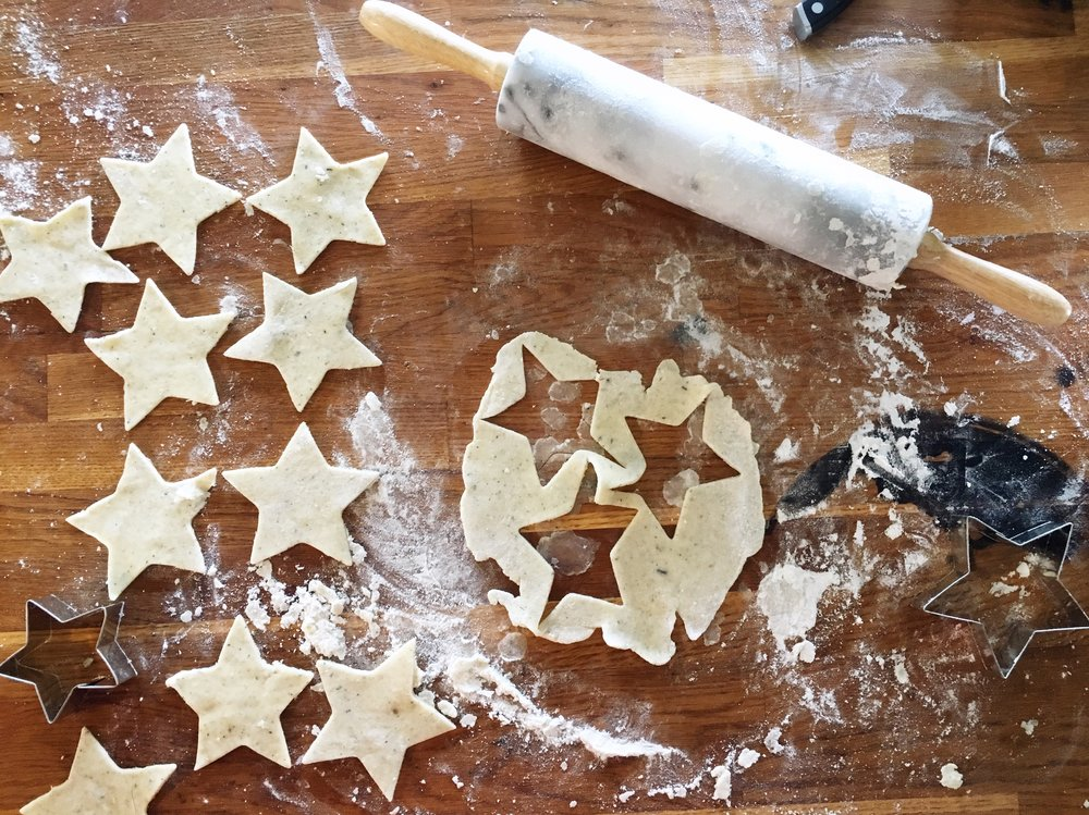 Lady grey tea pie crust cut into star shapes.