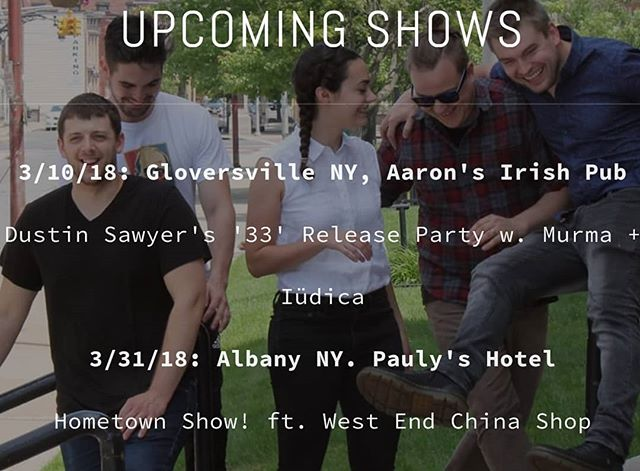 Shaking off that winter lethargy with a couple of real fun shows in March. Keep up with what we've got going on at wearemurma.com! Very excited to play the @dustinsawyermusic release party.  #livemusic #albany #indierock