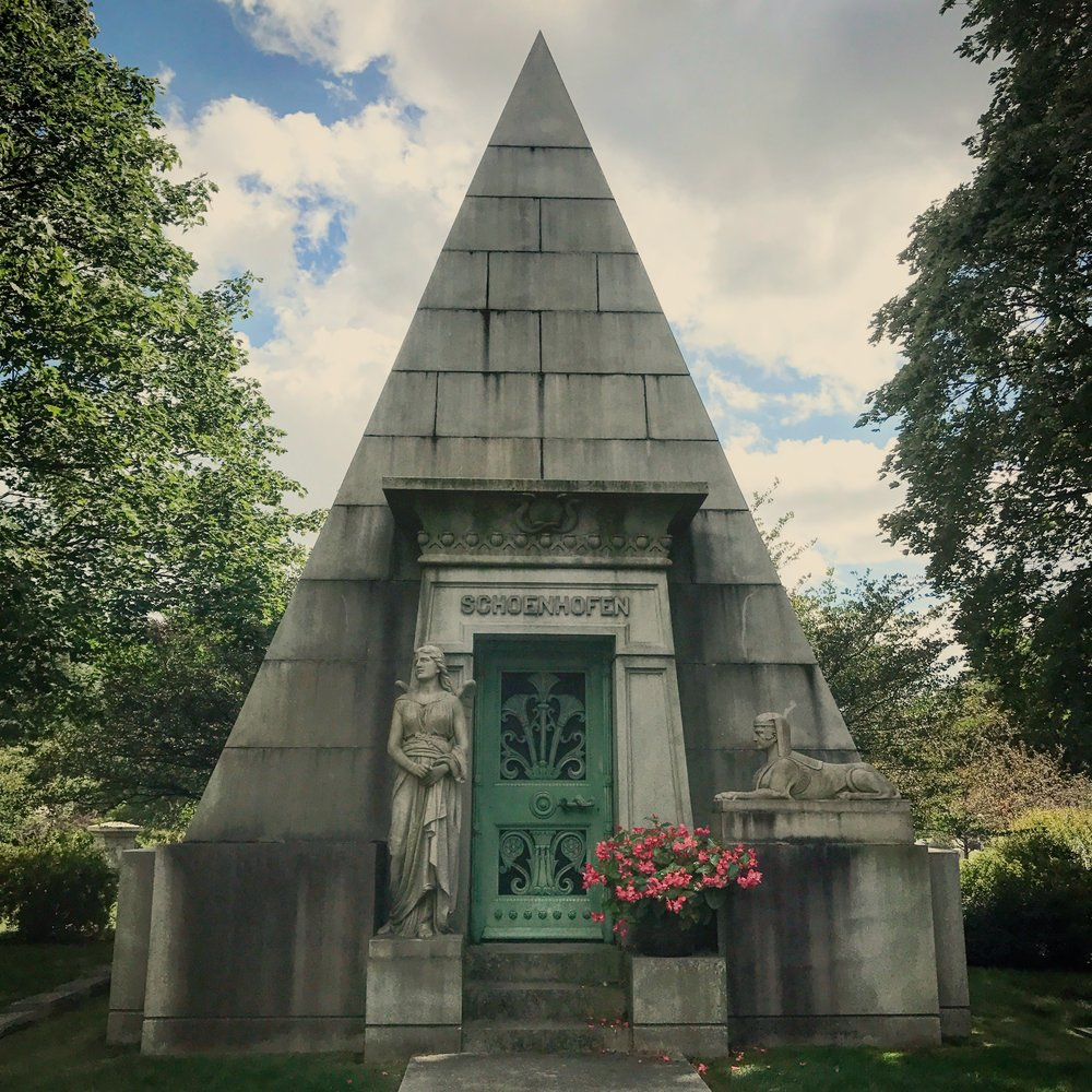 Schoenhofen Pyramid Mausoleum designed by Chicago School architect Richard E. Schmidt.