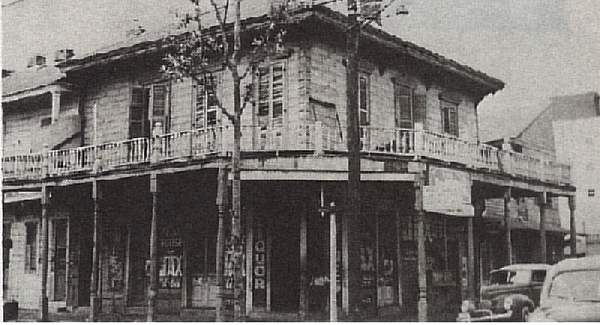 Location of Frank Early's Saloon on Bienville and Crozat (formerly Franklin) Photo taken 1940s found in Storyville New Orleans by Al Rose