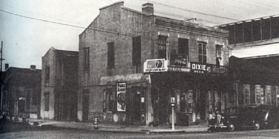 Location of Joe Victor's Saloon intersection of Villere and St. Louis Streets. Photo 1943 from Storyville New Orleans by Al Rose